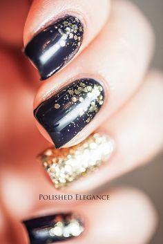 Essie - After School Boy Blazer nail polish gold glitter blue gradient nail art manicure