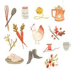 Rebecca Green, gardening, pencil, soft, illustration, design, chicken, garden, plants