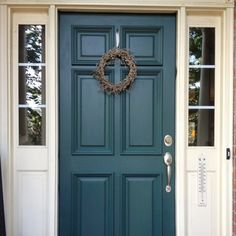 Check out these incredible traditional front doors - what an imaginative .Check out these incredible traditional front doors - what an inventive project ideas Teal Door Colors brick ideas turquoise door colors brick Teal Front Doors, Teal Door, Front Door Paint Colors, Painted Front Doors, Turquoise Door, Exterior Door Colors, Exterior Doors, Entry Doors, Exterior Paint