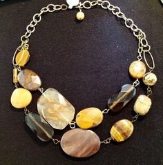 Chunky Large Semi Precious Stones Double Strand by riverviewgems