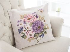 Pillows Lavender Cottage, Yellow Cottage, Lavender Blue, Monogram Cross Stitch, Cross Stitch Rose, Cross Stitch Flowers, Yellow And Brown, Pink And Green, Purple Garden