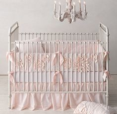 Washed Appliquéd Fleur Nursery Bedding Collection from RH. Pink or lavender?