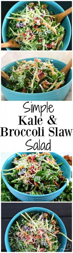 This healthy and easy salad is the perfect addition to any meal! Clean eating and gluten-free can be delicious! This salad is packed with whole foods such as kale, broccoli, pecans, and turkey bacon. 21 Day Fix, Broccoli Slaw Salad, Recipes With Broccoli Slaw, Kale Salad Recipes, Whole Food Recipes, Cooking Recipes, Vegetarian Recipes, Healthy Recipes, Veggie Recipes