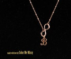 Personalized Infinity necklace - letter, initial, rose gold filled, personalized jewelry, forever love, sister, bridesmaid, www.colormemissy.com