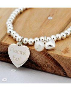 Silver bracelet 'Cute Balls' Heart & Pearl