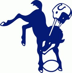 NFL Baltimore Colts Primary Logo (1961) - Blue bucking colt with a football, wearing a Colts helmet