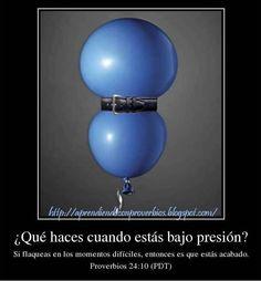 """""""Si fallas bajo presión, tu fuerza es escasa"""" Pr 24:10 (NTV) #ProverbioDelDía #EntreCristianosNosSeguimos http://aprendiendoconproverbios.blogspot.com/2013/05/bajo-presion.html"""