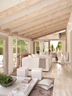 example how to decorate a white living room and wood of modern style and relaxing with furniture in white and wood, idea ceiling in white wood beams rnrnSource by bicam Living Room Flooring, Home Living Room, Wood Beams, White Furniture, Wooden Furniture, Outdoor Rooms, Family Room, New Homes, House Ideas