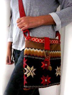 Bag Boho hippie native original leather vintage embroidery woven cross bag