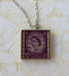 British Post Stamp Postal Art Necklace  Postal by TheMayaMarket