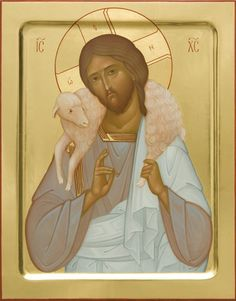 Jesus Christ the Good Shepherd - Icons from the Workshop of St. Elisabeth Convent - Handmade - Hand-Painted - Visit our website for more information: http://catalog.obitel-minsk.com/icon-painting - #CatalogOfGoodDeeds #Orthodox #Eastern #Church #Orthodoxy, #Miracle, #Blessed #Faith #Holy #Jesus #Christ #Savior