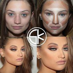 contouring and highlighting-the magic of make-up Face Contouring, Contour Makeup, Contouring And Highlighting, Contouring Products, Contouring Tutorial, Before And After Contouring, Makeup Before And After, Makeup Goals, Beauty Makeup