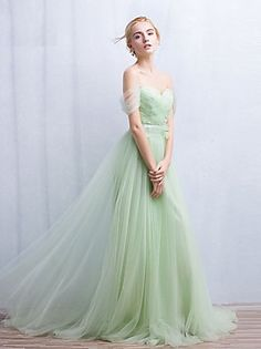 Formal Evening Dress A-line Off-the-shoulder Sweep / Brush Train Tulle with Appliques / Beading