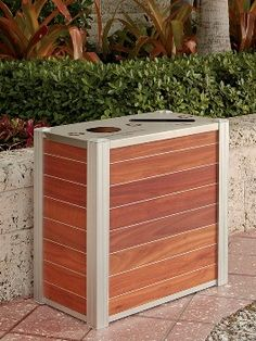 Hotel Recycling Bin Restaurant Office Recycling Receptacle Wood Stainless trash container Condo