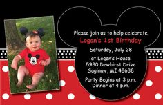 Mickey Mouse 1st Birthday Invites
