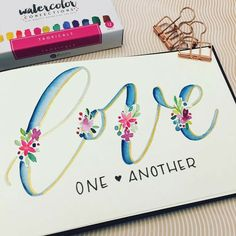 how new tools sometimes inspires new projects. Once I saw the colorful, tropical palette from Prima Marketing, I knew I wanted to paint some bright Watercolor Lettering, Brush Lettering, Watercolor Cards, Watercolour, Calligraphy Letters, Modern Calligraphy, Caligraphy, Penmanship, Scripture Art