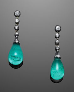 Contemporary | Fred Leighton | Vintage & Estate Jewelry | New York | Las Vegas Columbian Emerald Drop and Diamond Pendant Earrings by Fred Leighton