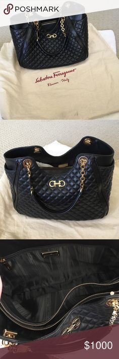 Ferragamo Quilted Handbag Very good condition quilted black Ferragamo bag with chain straps. Worn twice. Slight scratches in the hardware, but only noticeable when actively looking for any damage. Salvatore Ferragamo Bags Shoulder Bags