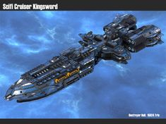 scifi cruiser kingsword modell low-poly obj mtl fbx tga 1 Source by talkytoaster