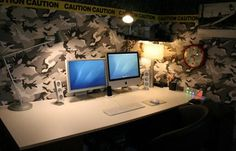 Amazing And Attractive Room Design Ideas With Army Wallpaper Design And Modern Computer Units