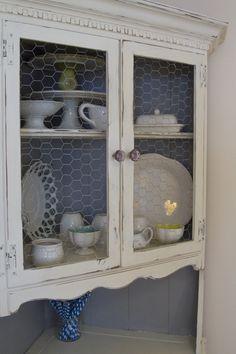 Distressed Painted Corner Cabinet Chicken Wire