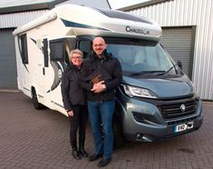 Jane and Mark are pictured taking delivery of their brand new Chausson 738 XLB Welcome `Smart Lounge` motorhome. Styrofoam Insulation, Table Legs, Motorhome, Welcome, The Twenties, It Is Finished, Delivery, Ford, Lounge