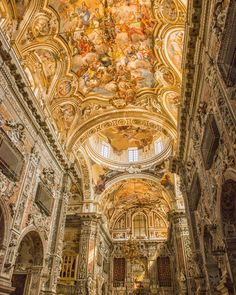 The Church of Santa Catrina in Palermo. I saw hundreds (literally) of churches, palaces, and buildings with beautiful paintings. The best art work, in my opinion was always the ones on the ceilings.  #santacatrina #frecso #art #baroque #rococo #renaissance #italy #italian #sicily #palermo #church #painting #travel #travelphotography #wanderlust #nikon #nikond800e #history #beautiful #randazzo