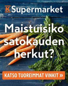 Lue K-Supermarketin asiantuntijan Anne Saarisen neuvot helppoihin herkkuihin, jotka omenoista kannattaa valmistaa. Testaa lisäksi tietosi kasviksista, ja voita K-Supermarketin lahjakortti. Carrots, Vegetables, Food, Carrot, Vegetable Recipes, Eten, Veggie Food, Meals, Veggies