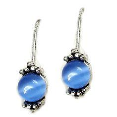 Blue Tigers Eye Drop Earrings Vintage Silver Tone Pierced e526