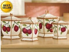 Hand Painted Tuscany Red Apple with Bamboo Trim Canister Set 4 Housewarming gift #ACK