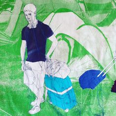These people are still wandering about with their suitcases #lookingforadventure #fiberart #rosiejames #textileartist #wild #borntobewild #camping #campsite #screenprinting #bluegreen #halftone #tents #luggage #suitcase #suitcasetravels
