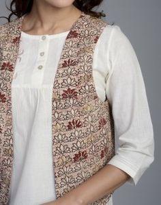 Cotton Slub Printed Khari Shrug Waist Coat, Nehru Jackets, Designs For Dresses, Jacket Pattern, Timeless Elegance, Woman Clothing, Indian Designer Wear, Jacket Style, Indian Wear