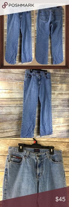 Vintage Tommy Jeans Straight Leg light Blue Wash Vintage Light blue wash straight leg jeans. Size 9/30. In good used condition. 9 inch rise. 30 inch waist and 30 inch inseam. Tommy Hilfiger Jeans Straight Leg
