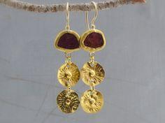 24 Karat Gold Earrings  Rough Ruby Gold Earrings  24k by Omiya
