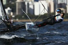 RIO DE JANEIRO, BRAZIL - AUGUST 11: Pablo Defazio Abella of Uruguay and Mariana Foglia Costa of Uruguay compete in the Nacra 17 Mixed class on Day 6 of the Rio 2016 Olympics at Marina da Gloria on August 11, 2016 in Rio de Janeiro, Brazil. (Photo by Clive Mason/Getty Images)