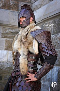 fantasy armor, leather and fur