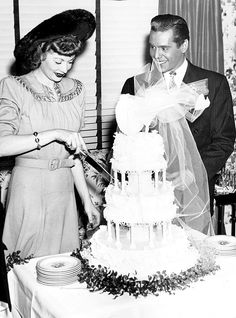 Lucille Ball and Desi Arnaz celebrate their wedding, 1940