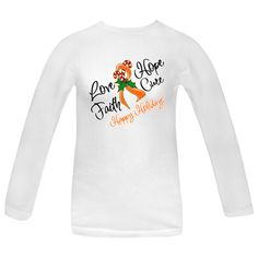 Love, Hope, Faith and Cure Leukemia awareness Women's Long Sleeve T-Shirts.  This design features our festive awareness ribbon decorated with a candy cane as a reminder of hope during the Christmas holidays brought to you by Store.Gifts4Awareness.Com .Copyrighted GFA. $21.99
