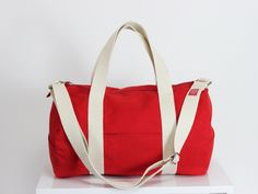 Red, Duffel Bag, Full Lined, Long and Adjustable Strap, Pockets on Outside, Gym Bag, Yoga Bag, Chic, Useful, Wide Zipper Closure, Unisex