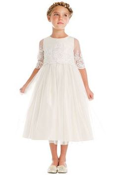 85f8721df73 Sweet Kids SK748 Off-White Sequin   Cord Embroidered Mesh ¾ Sleeve Dress