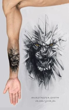 Realistic wolf tattoo design is part of - ArtStation Glass wolf, Anastasiya Smith Wolf Tattoos, Lion Arm Tattoo, Wolf Tattoo Sleeve, Best Sleeve Tattoos, Sleeve Tattoos For Women, Forearm Tattoos, Body Art Tattoos, Hand Tattoos, Tattoos For Guys