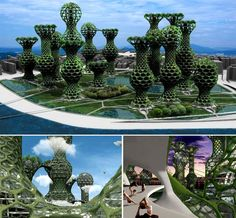 Seoul Commune 2026 The towers' organic shapes mimic plants, and with the help of a special geotextile the exterior of the towers would be covered in living, growing vines. The hexagonal openings on the towers would be covered with various types of glass, including photovoltaic glass to provide clean energy for residents.
