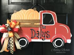 Pumpkin Truck Door Hanger