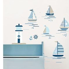 .$31  Wall Pops Ships Ahoy Wall Decals - Wall Sticker Outlet 91 pieces on two 17.25in x 39in sheets.