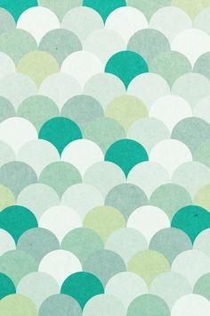 Pattern green teal mint scallops