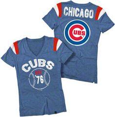 Chicago Cubs Royal Blue Women's Tri-Blend V-Neck Raglan T-Shirt
