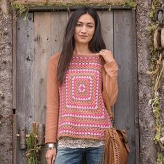THE ALWAYS COOL PULLOVER - It doesn't get any better. A colorful, hand-crocheted front, jersey knit sleeves and back, rib trim. Viscose/nylon/merino wool/alpaca.