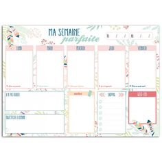 Collection Plumes printanières chez Toga - i-design Planner Board, Goals Planner, Planner Pages, Planner Ideas, Back To School List, Too Cool For School, Weekly Planner Template, Printable Planner, School Timetable