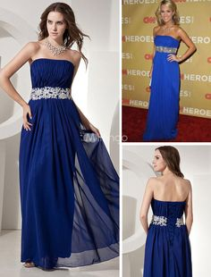 Magnificent Royal Blue Chiffon Strapless Sweep Train Golden Globe Dress. Dress like the stars do in this gorgeous Golden Globe-inspired gown. It has a lovely strapless bodice and gathered texture throughout.  The midsection of the dress is cinched with a beautifully beaded waistband. The midsectio.. . See More Golden Globe Dresses at http://www.ourgreatshop.com/Golden-Globe-Dresses-C903.aspx