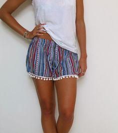 Pom Pom Shorts  - Aztec Pattern with Large White Pom Pom Trim - Beach shorts on Etsy, $29.00